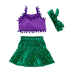 4c8f35a6b3567 Image is loading Toddler-Girls-Strap-Tops-Vest-Mermaid-Skirt-Headband-