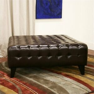 Sensational Details About Bowery Hill Square Leather Ottoman In Dark Brown Dailytribune Chair Design For Home Dailytribuneorg