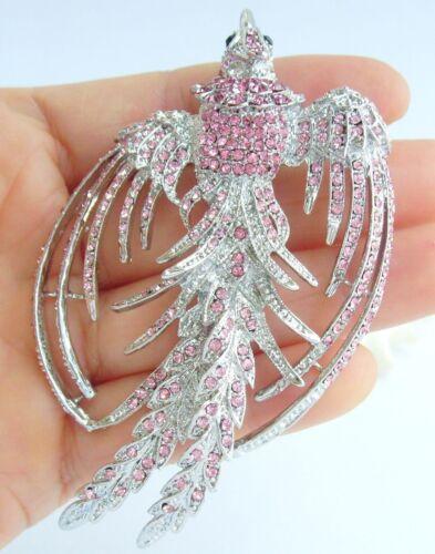 "3.54/"" Jolies Animal Phoenix Broche épingle Rose Autrichien Cristal Pendentif 02338C7"