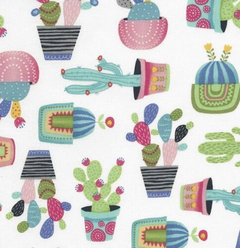Potted Cactus Fun Summer Cacti Plants Print Novelty Quilting Craft Cotton Fabric