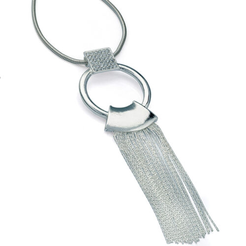 Lagenlook stunning silver colour crystal ring chain tassel long length necklace