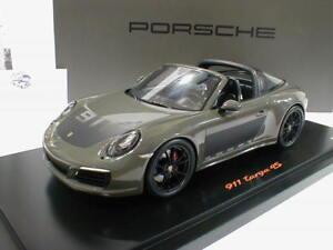 """Targa 4S /"""" grau//schwarz /"""" mit Vitrine 1:18 991 Spark WAX02100029 Porsche 911"""
