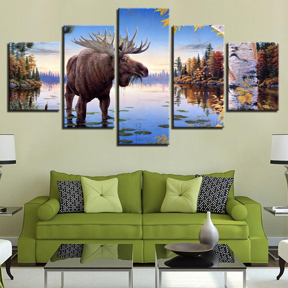 Animal Elk Deer Painting 5 Panel Canvas Print Wall Art