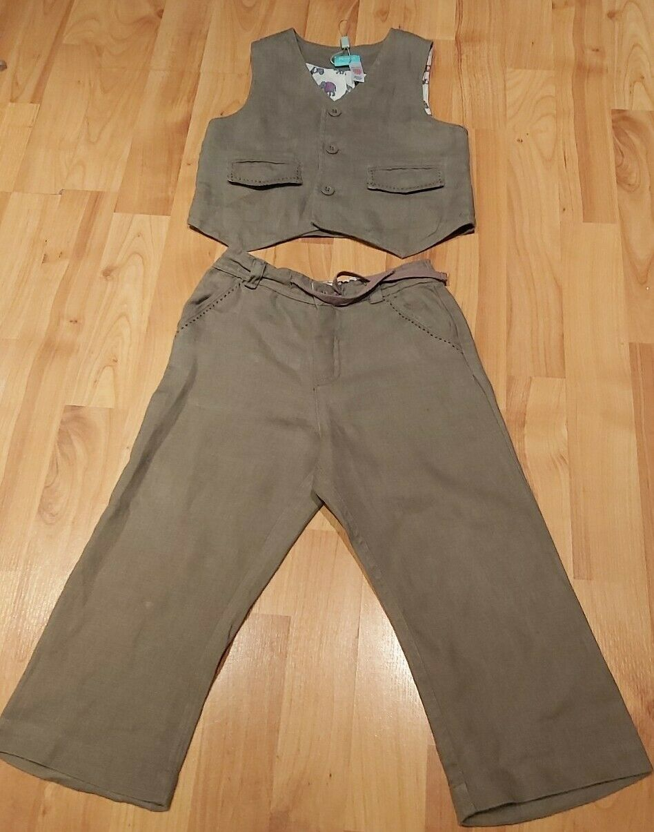 Monsoon Boys Linen 2 piece Suit Age 2 - 3 years Karki Green