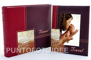 Copieux Album Fotografico In Ecopelle Travel Bordeaux 10x15 - 200 Foto + Cornice 10x15 DernièRe Technologie