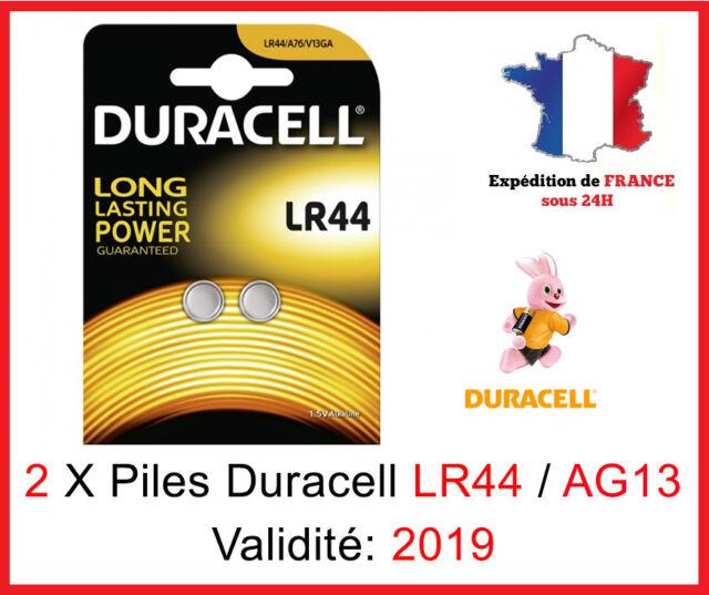 2 Piles LR-44 / AG13 / A76 / V13GA  DURACELL Bouton Alcaline 1,5V DLC 2019