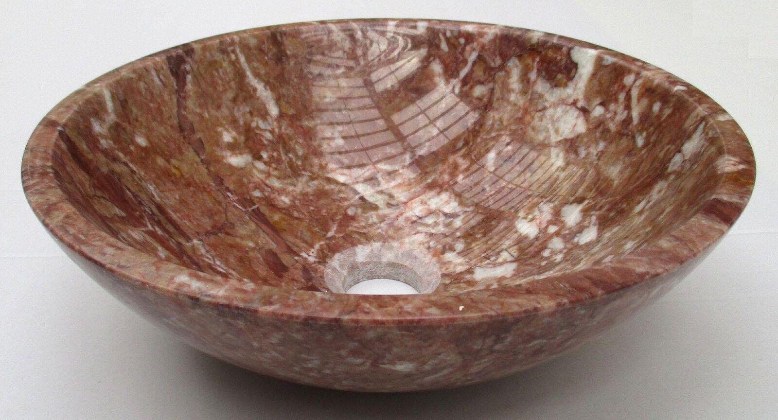 Tazón rojoondo Piedra Baño mano lavabo de mármol rojo diámetro 350mm (0067)
