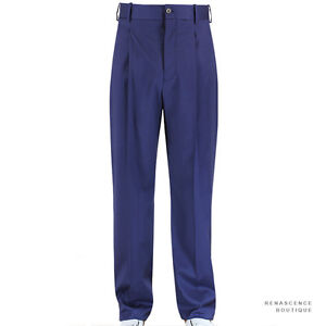 Alexander-McQueen-Royal-Blue-Single-Pleat-Straight-Leg-Trousers-Pants-IT44-W28