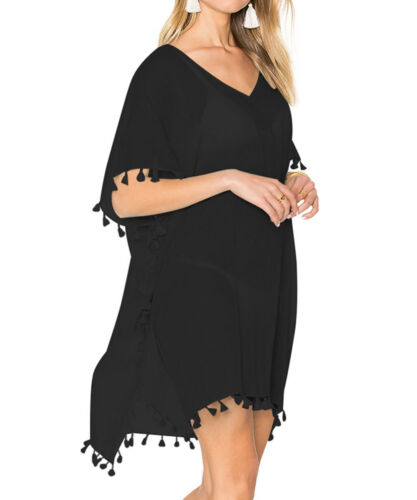Black Beach Dress Copri Caftano Sarong Estate indossare costumi da bagno donna Regno Unito