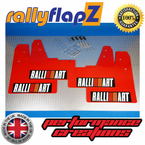 rallyflapZ Mitsubishi Evo Lancer 789 Mudflaps Red Ralliart White R/&O Blk 4mm PVC
