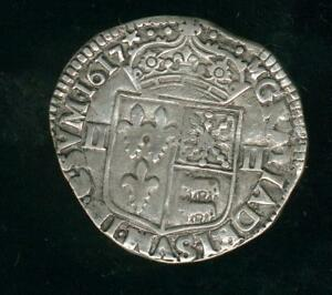 Quarter D' ECU IN The Hammer Navarre Béarn Louis XIII 1617 Bel Copy