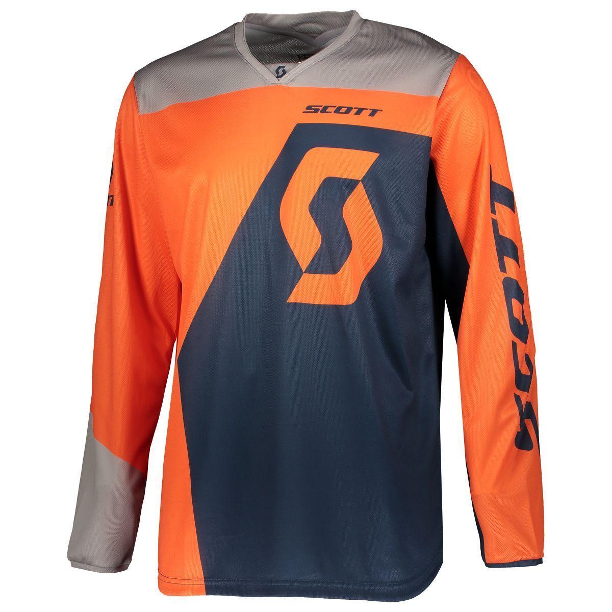 Scott 350 Dirt MX Motocross JerseyDH Bicicletta Maglia ArancioneBlu 2019