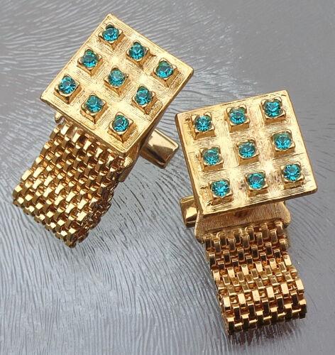 Vintage Pair Blue Green Rhinestone Wrap Around Cufflinks Gold Tone Signed Lisa