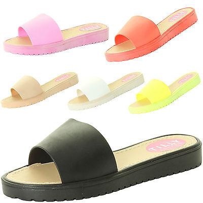 Para Mujer Damas Niña Verano Sandalia Playa mulas deslizadores Flip Flop Jelly Zapatos Planos