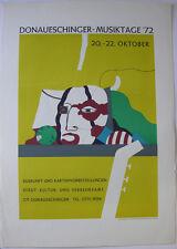Karl Korab Plakat Donaueschinger Musiktage Orig Folienlithografie 1972