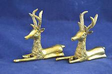 Brass Reindeer Buck Set 2 Pair Sitting Laying Decor Statue Weight
