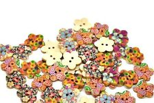 """Lot of 10 FLOWERS 2-hole Wooden Buttons 11/16"""" (17mm) Scrapbook Doll (1428)"""