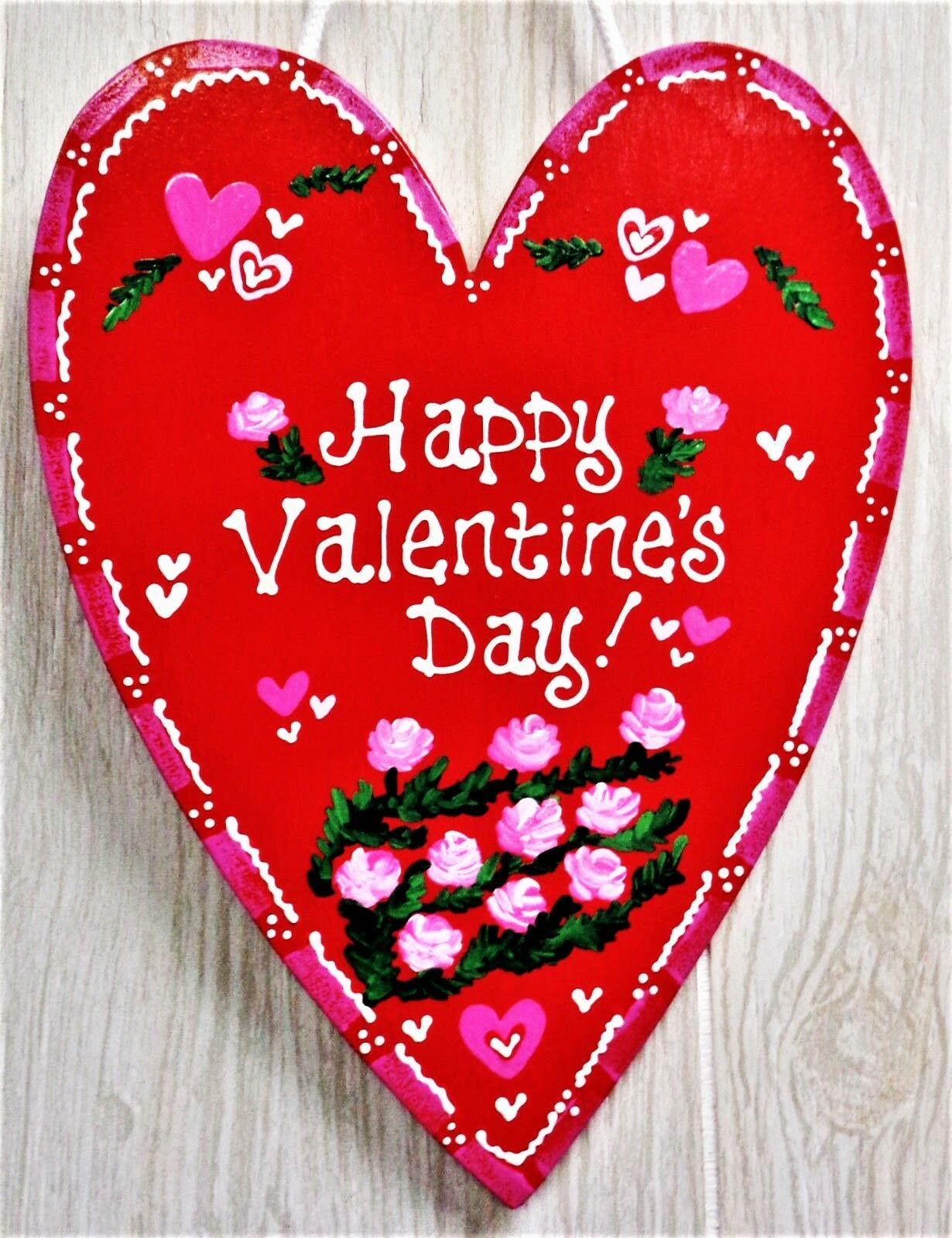 ALAZA Happy Valentines Day Bling Light Red Hearts Wood Sign Wall Art Hanging Rustic Plaque Board Decor for Home Front Door Farmhouse Porch Garden Yard Sign 6x11