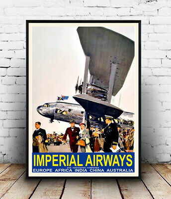 1935 Imperial Airways Vintage Style Early Aviation Travel Poster 20x30