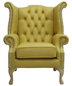 Chesterfield Armchair Queen Anne High Back Wing Chair Deluca Yellow