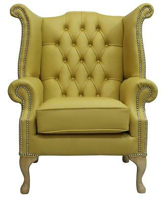 Pleasant Chesterfield Armchair Queen Anne High Back Wing Chair Deluca Yellow Leather Ss Ebay Creativecarmelina Interior Chair Design Creativecarmelinacom