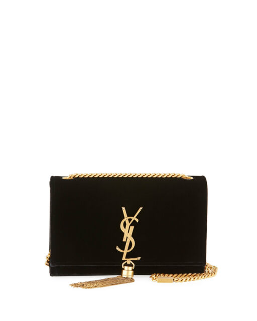 b5c93ade76f9 AUTH NEW WOMEN YVES SAINT LAURENT KATE BLACK MEDIUM CHAIN TASSEL SUEDE BAG  PURSE