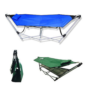 New Portable Folding Porch Camping Hammock Lounge Bed Cot with Stand 2 Color