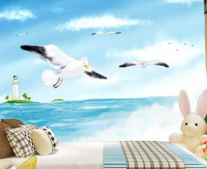 3D Seagulls 5 Wallpaper Murals Wall Print Wallpaper Mural AJ WALL UK Summer