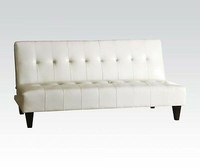 Conrad White Bycast Adjustable Sofa PVC Leather Wood Ply Foam 20cm H Wooden Leg