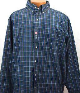 NWT Sport Shirt Big and Tall Chaps LS Wrinkle Resistant Blue Plaid Mens 3XB 3TF