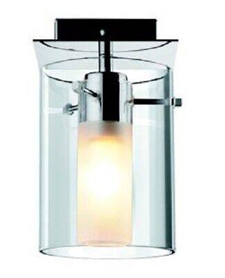 Diplomatisch Glas Deckenleuchte Anbauleuchte Eckig / Rund Chrom Deckenlampe Flur Küchenlampe