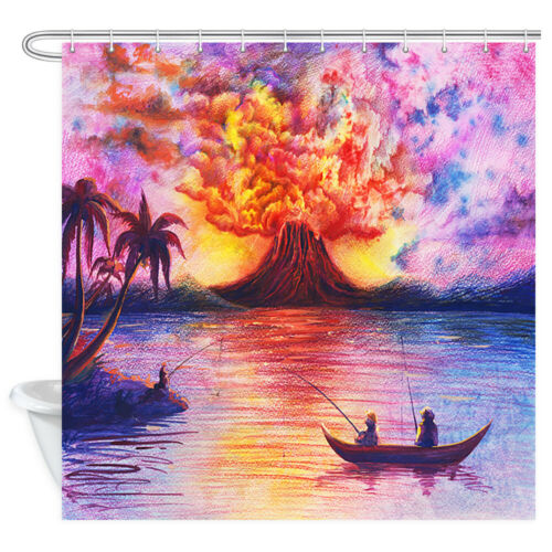 Fisherman and Volcano Shower Curtain Bathroom Decor Fabric /& 12hook 71in