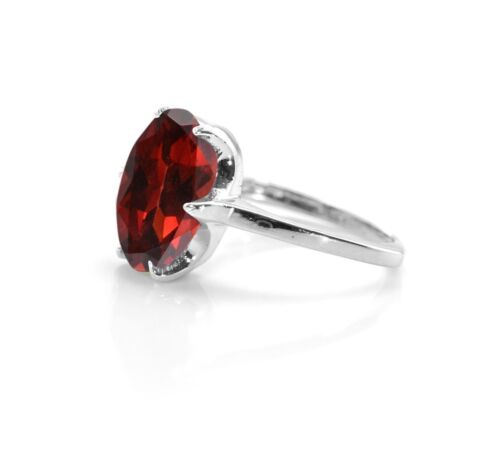 Red Garnet 925 Sterling Silver Ring Natural Solitaire Gemstone Size 4-11