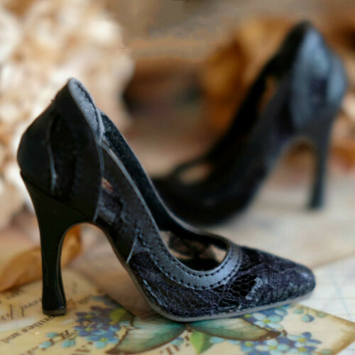 1//3 SD16 BJD Shoes Translucent Black Lace High Heels for BJD Doll AS DF POPO AOD