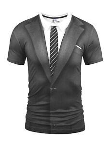 Costume-Costume-T-Shirt-Funny-Fancy-Dress-Chemise-et-cravate-Nouveaute-T-Shirt