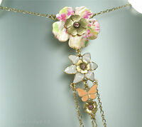 Pilgrim Flower Necklace Vintage Gold Pastel Mother-of-pearl Pearly Petals