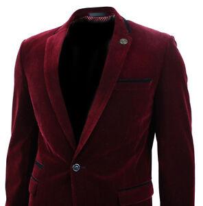 Mens Velvet Wine Maroon Burgandy Blazer Jacket Slim Fit Smart ...