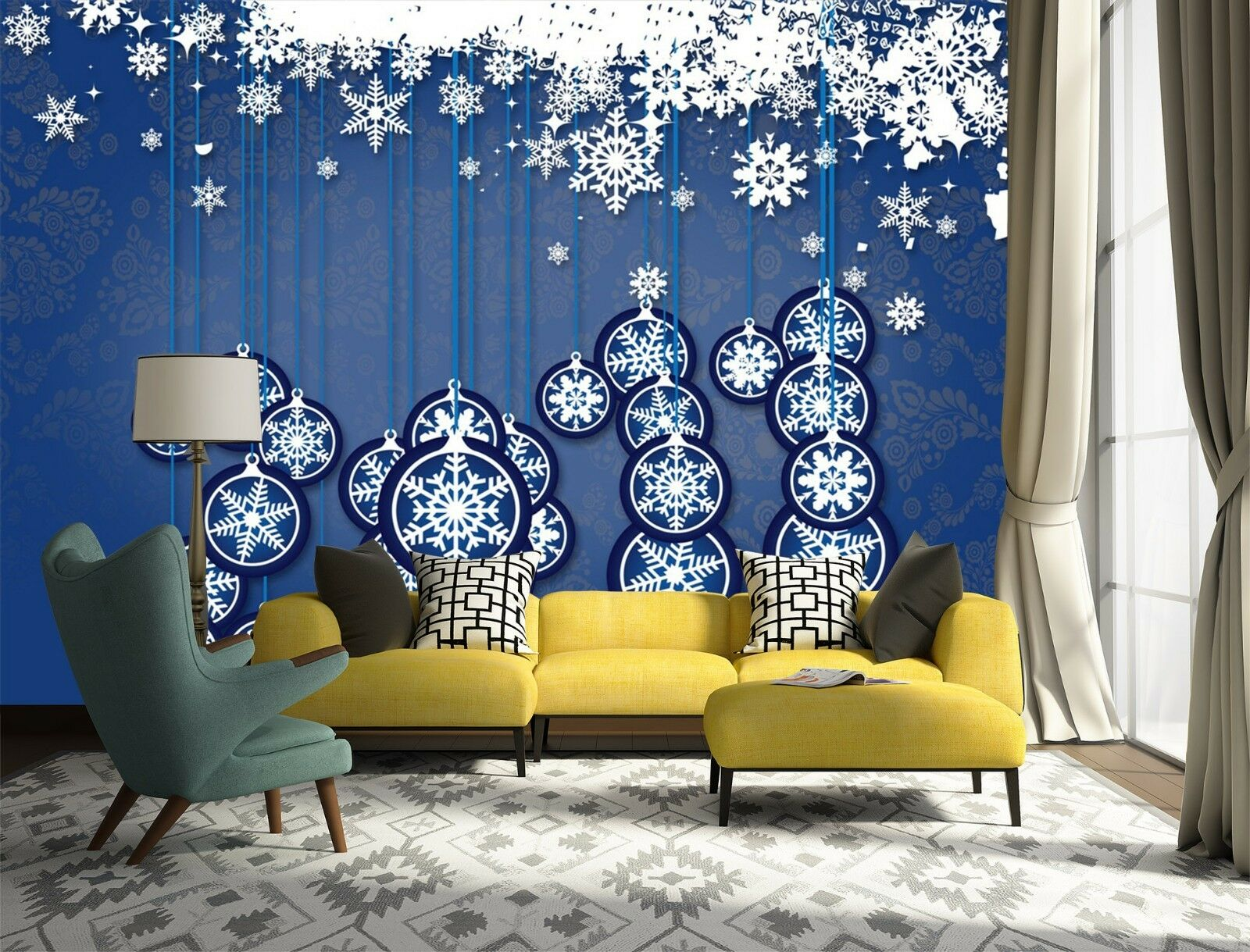 3D Cartoon small snowflakes Wall Paper Print Decal Wall Deco Indoor wall Mural