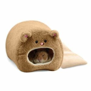 Rats-Hamster-Winter-Warm-Hanging-Cage-Hammock-Cute-Bear-House-with-Bed-Mat-Z1Q8