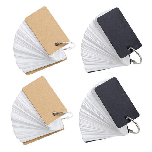 4xBlanko Kraftpapier Easy Flip Grußkarten Flash-Karteikarten mit Ring Binder