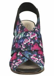 CLARKS-Ladies-Block-Heel-Sandal-Floral-Print-Fabric-Summer-Holiday-Bargain-UK-6D