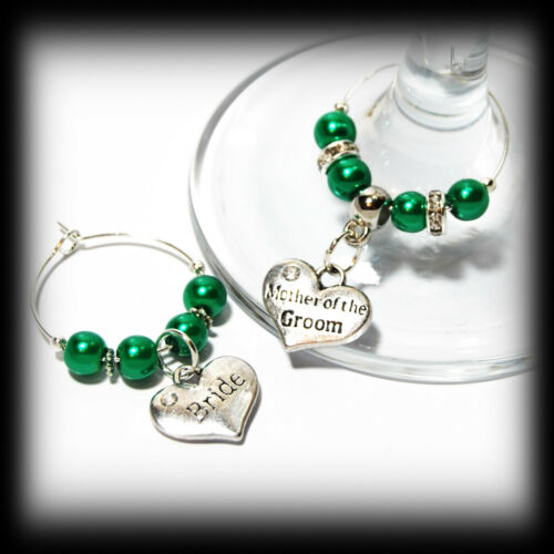 Beautiful Green wedding wine glass charms for top table or favours decor
