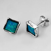 Shablool Sterling Silver 925 Stud Earrings With Opal Stone E106 Made In Israel