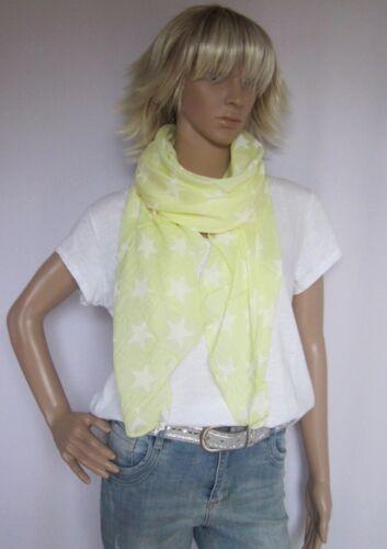 Tuch Schal Cotton Seide Stern Sterne hellgelb made in Italy