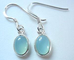 3720d2b83 Small Chalcedony Light Blue Oval 925 Sterling Silver Dangle Earrings ...