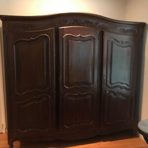 Etonnant Image Is Loading LARGE ANTIQUE ARMOIRE SOLID WOOD