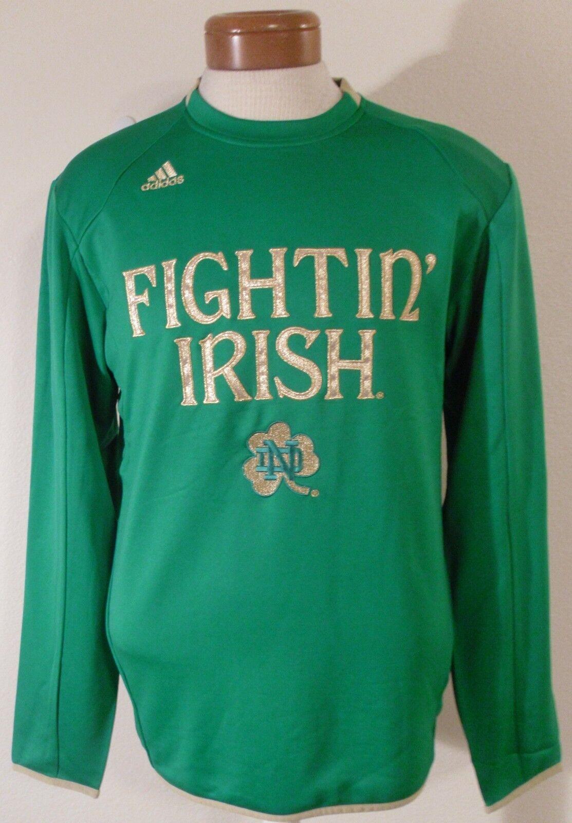 74246e7e NEW Adidas Notre Dame Fighting Irish Mens Sideline Crew Sweatshirt S Green