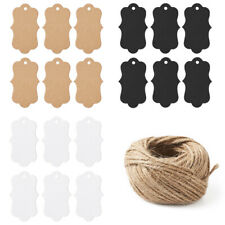 150pcs Kraft Paper Price Tags Blanks 3 Colors Hemp Cord Twine String 50x295mm