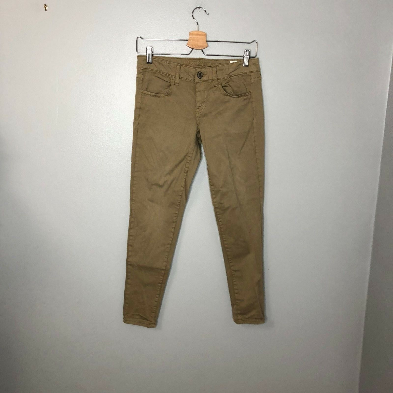 American Eagle Outfitters Tan Jeggings Jeans Sz 4 Short Womens Super Stretch