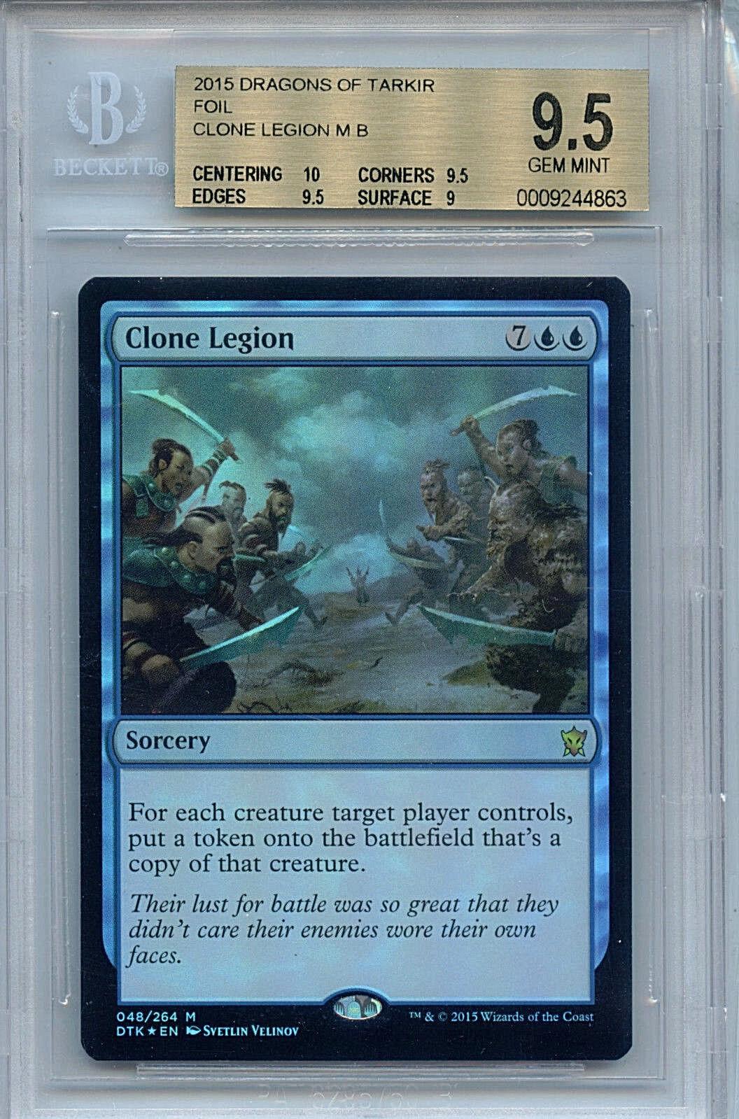 MTG Clone Clone Clone Legion BGS 9.5 GM Dragons Tarkir Mystic Foil Magic Card Amricons 5fd2f3